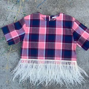 Endless Rose Cropped Plaid Top with Feather Trim